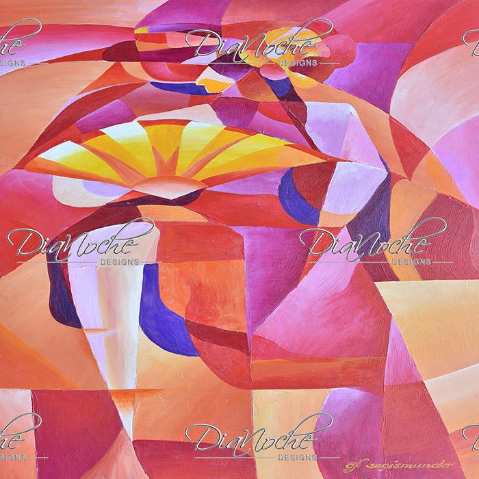 DiaNoche Designs Artist | Gerry Segismundo - Dancer with Fan Cubism 2