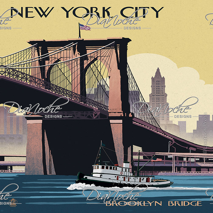 DiaNoche Designs Artist | Lantern Press - Brooklyn Bridge New York City