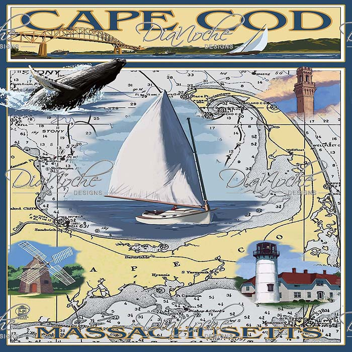 DiaNoche Designs Artist | Lantern Press - Cape Cod Map