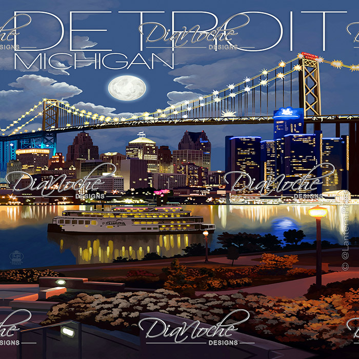 DiaNoche Designs Artist | Lantern Press - Detroit Michigan Skyline