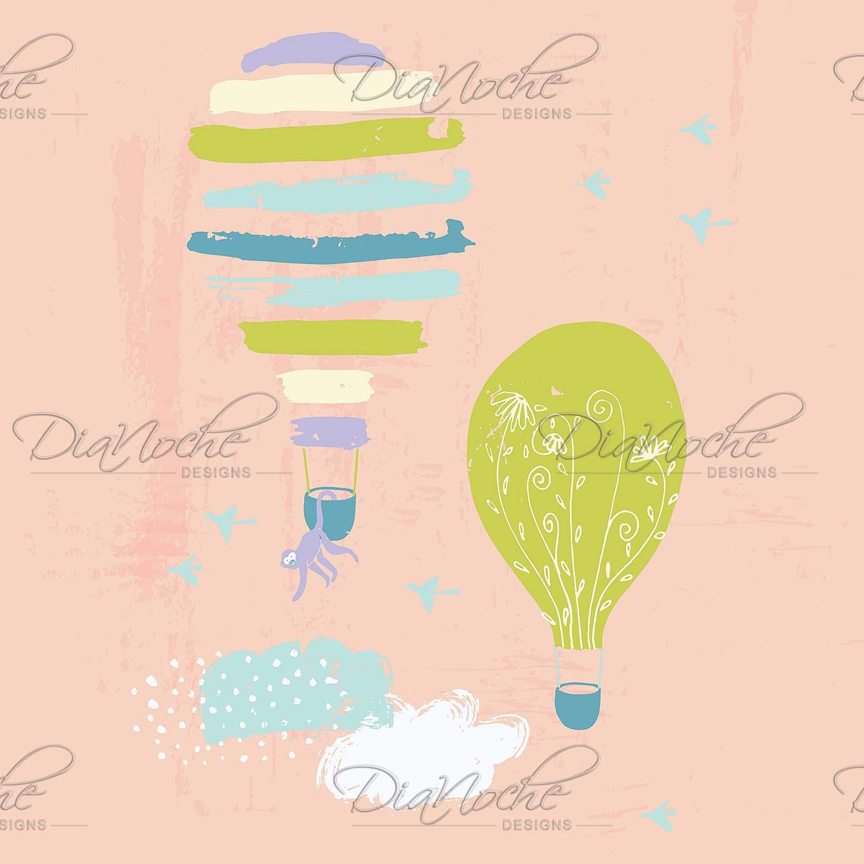 DiaNoche Designs Artist   Metka Hiti - Balloons Clouds Pink