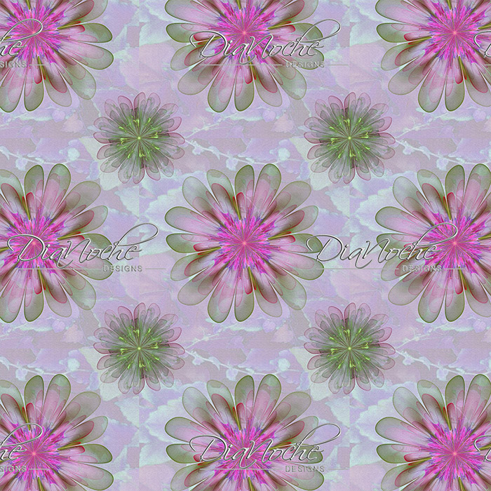 DiaNoche Designs Artist | Pam Amos - Abstract Flower Tile Pink Green